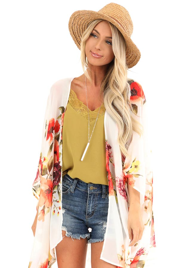 Ivory Sheer Floral Print Open Front Kimono front close up