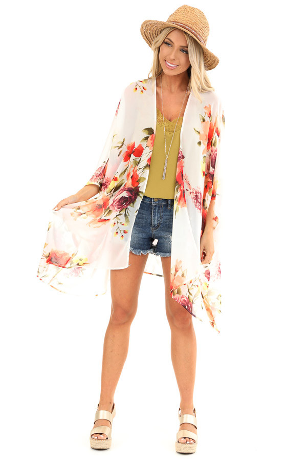 Ivory Sheer Floral Print Open Front Kimono front full body