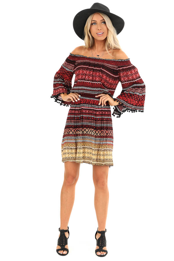 Ruby Tribal Print Off the Shoulder Dress with Pompom Detail front full body