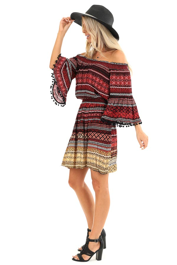 Ruby Tribal Print Off the Shoulder Dress with Pompom Detail side full body