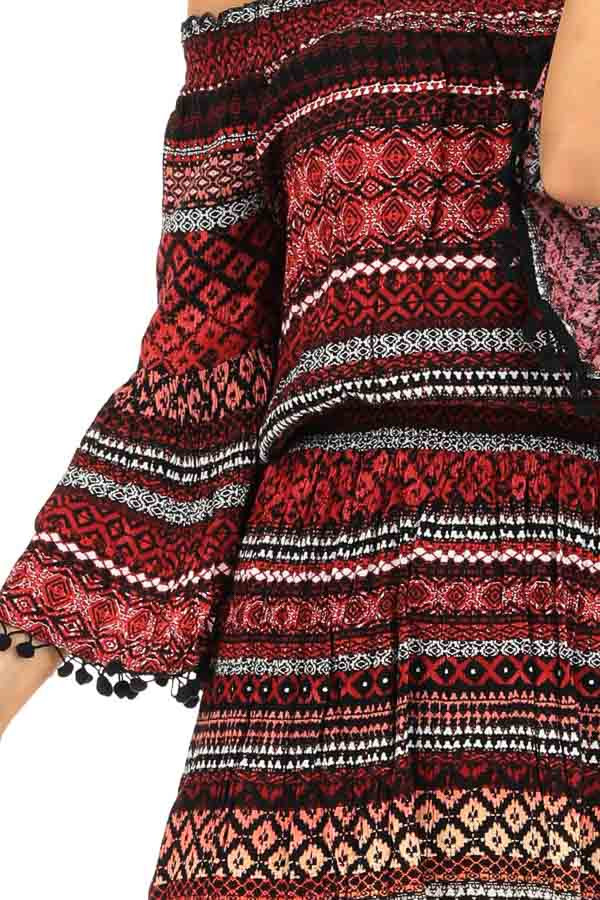 Ruby Tribal Print Off the Shoulder Dress with Pompom Detail detail