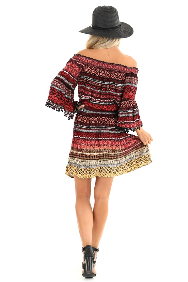 Ruby Tribal Print Off the Shoulder Dress with Pompom Detail back full body