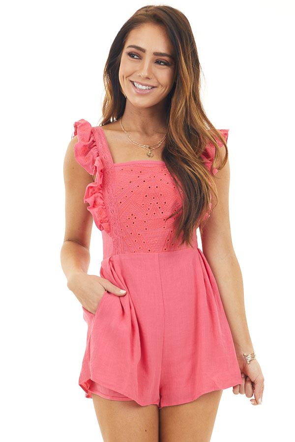 Watermelon Pink Embroidered Eyelet Romper with Pockets