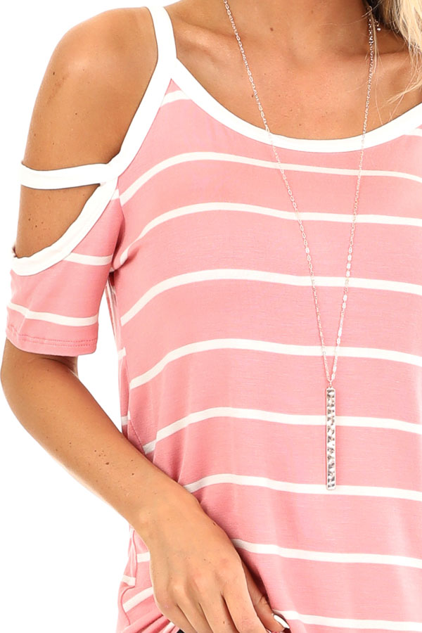 Taffy Pink and Ivory Striped Strappy Cold Shoulder Top detail