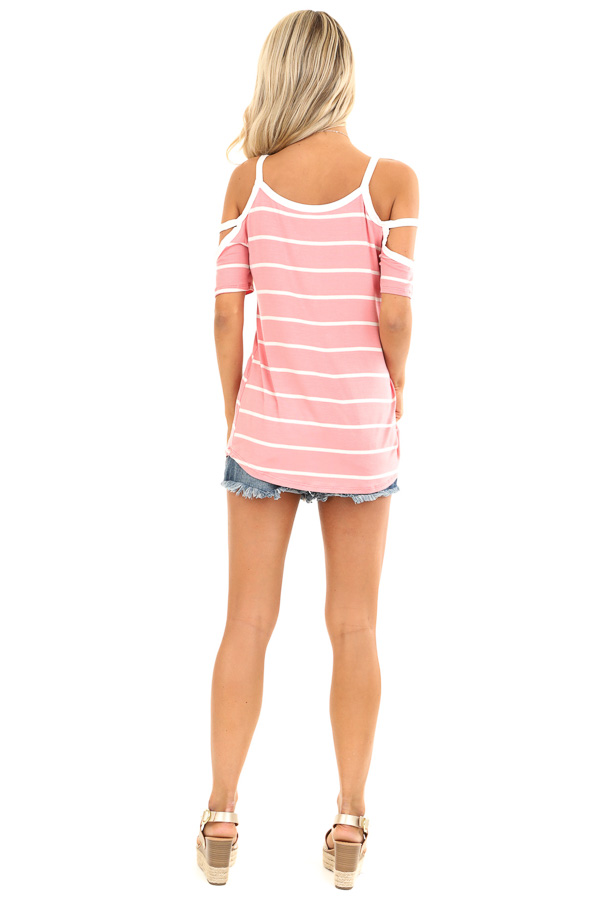 Taffy Pink and Ivory Striped Strappy Cold Shoulder Top back full body