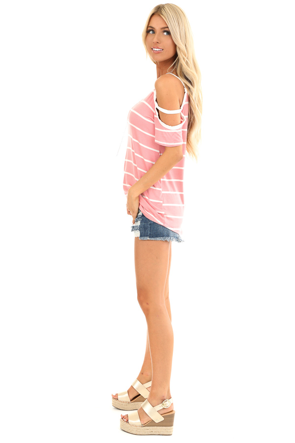 Taffy Pink and Ivory Striped Strappy Cold Shoulder Top side full body