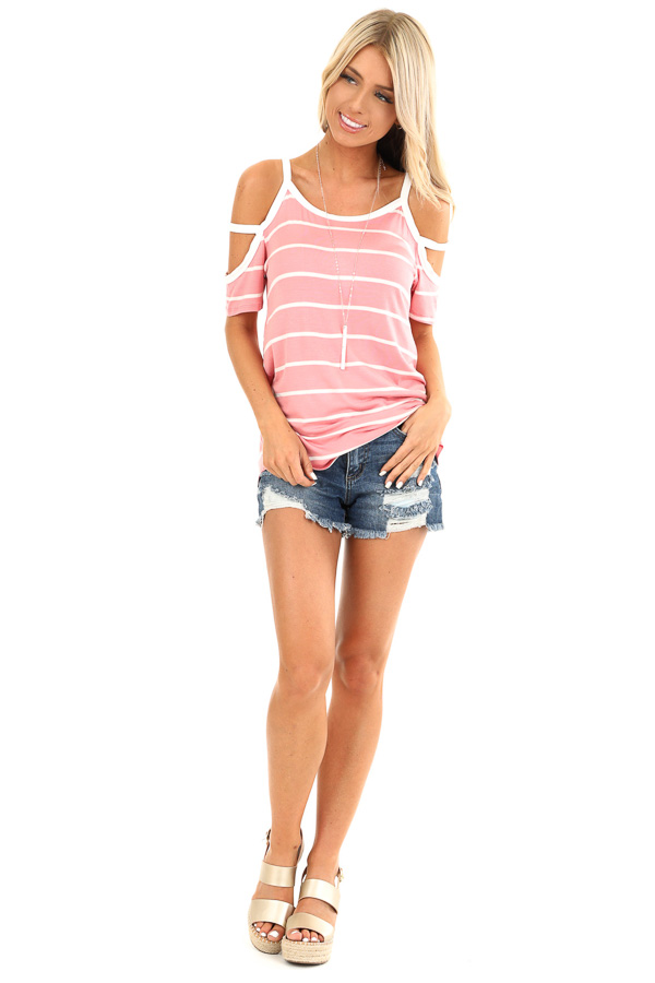 Taffy Pink and Ivory Striped Strappy Cold Shoulder Top front full body