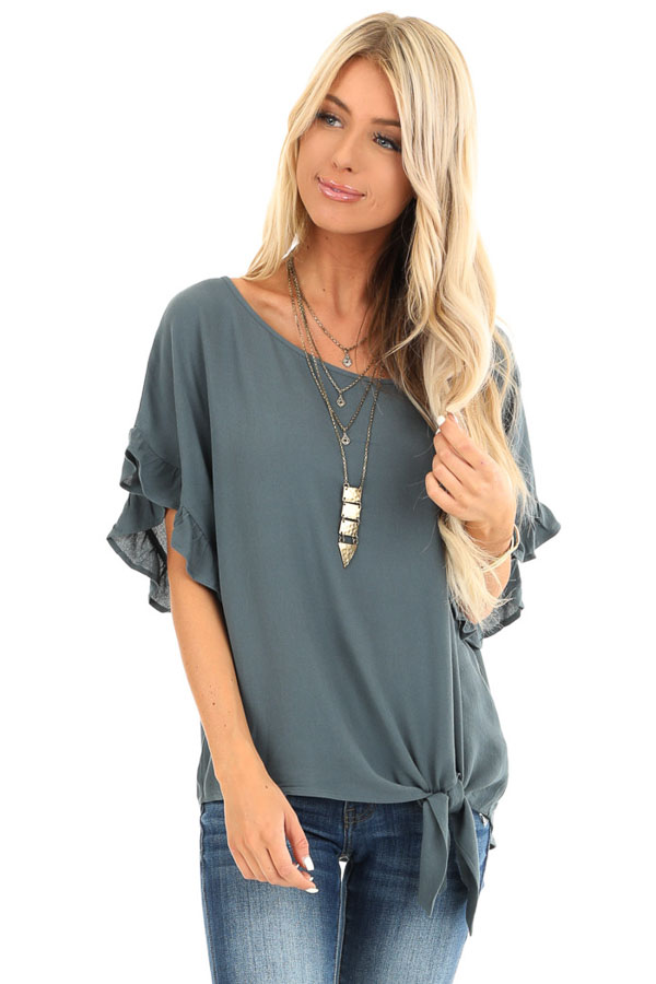Deep Teal Ruffled Sleeve Blouse with Front Knot Detail front close up