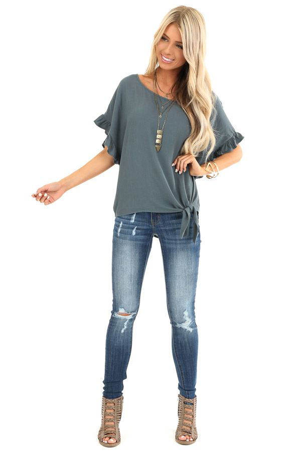 Deep Teal Ruffled Sleeve Blouse with Front Knot Detail front full body