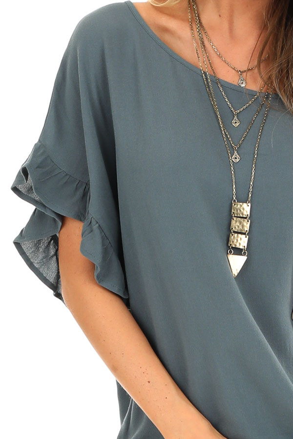 Deep Teal Ruffled Sleeve Blouse with Front Knot Detail detail