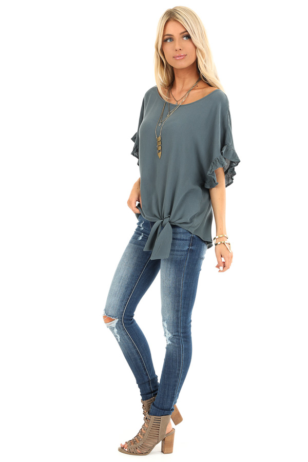 Deep Teal Ruffled Sleeve Blouse with Front Knot Detail side full body