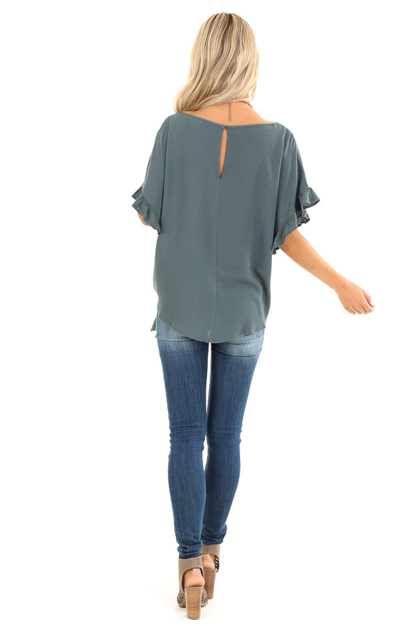 Deep Teal Ruffled Sleeve Blouse with Front Knot Detail back full body