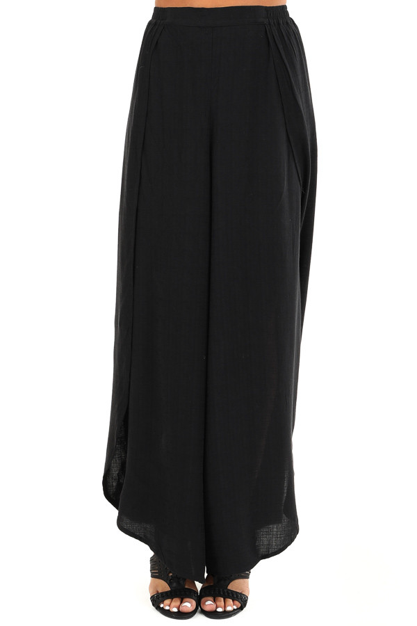 Raven Black Elastic Waist Palazzo Pants with Side Slits front view