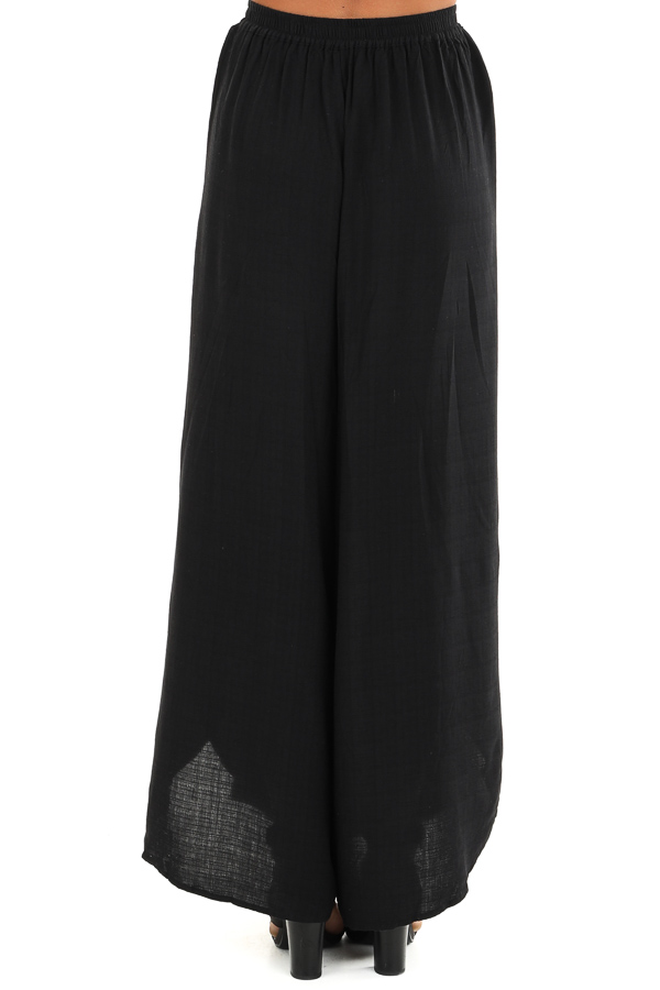 Raven Black Elastic Waist Palazzo Pants with Side Slits back view