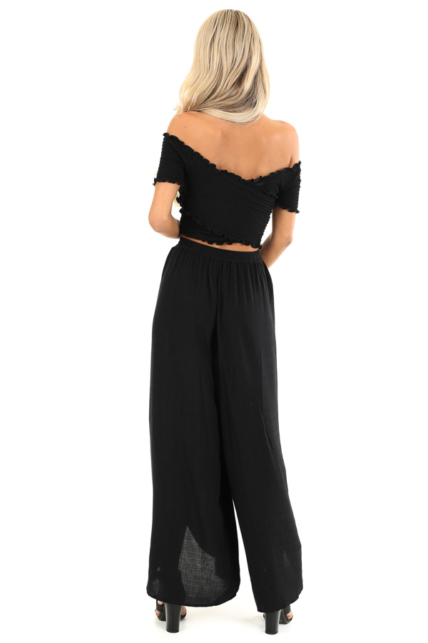 Raven Black Elastic Waist Palazzo Pants with Side Slits back full body