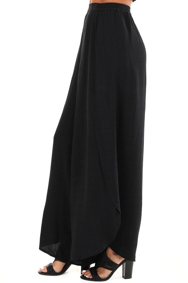 Raven Black Elastic Waist Palazzo Pants with Side Slits side view