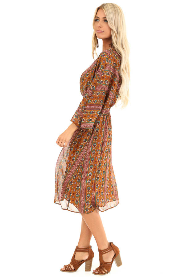 Camel Multi Print Surplice Midi Dress with Long Sleeves side full body