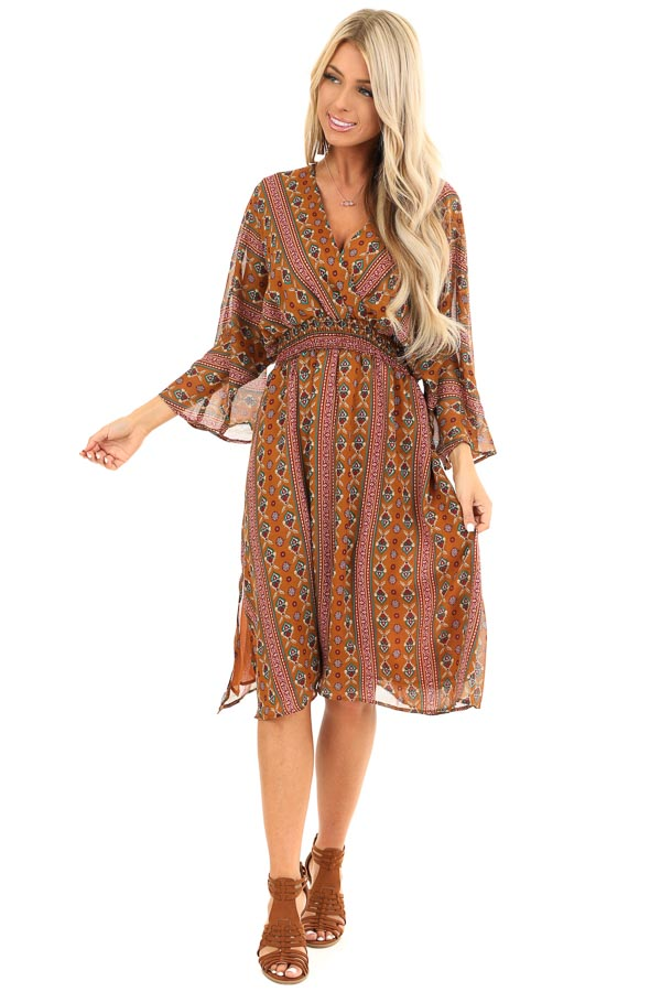 Camel Multi Print Surplice Midi Dress with Long Sleeves front full body