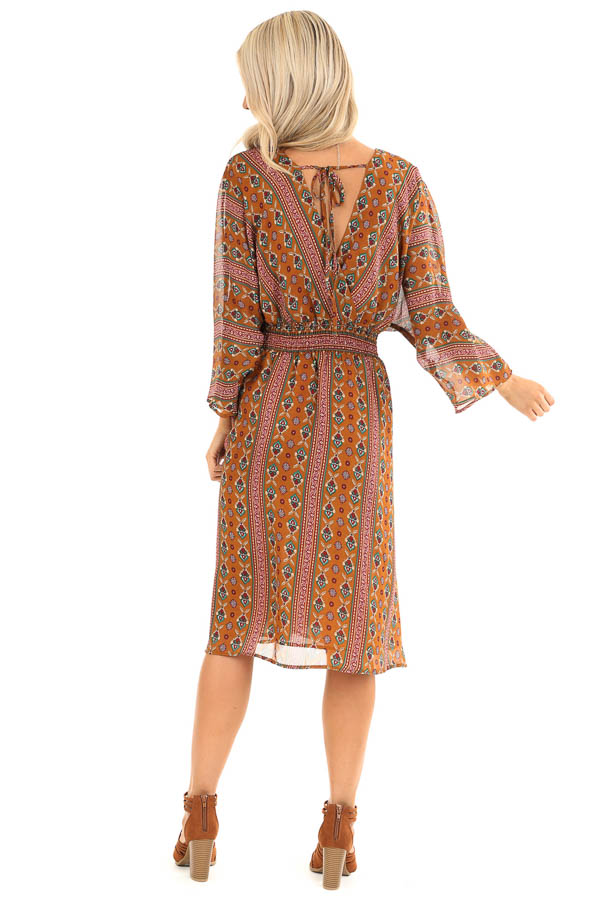 Camel Multi Print Surplice Midi Dress with Long Sleeves back full body