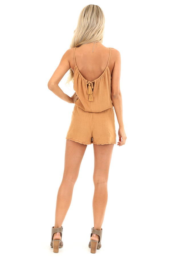Honey Tank Top Romper with Waist Tie and Button Detail back full body