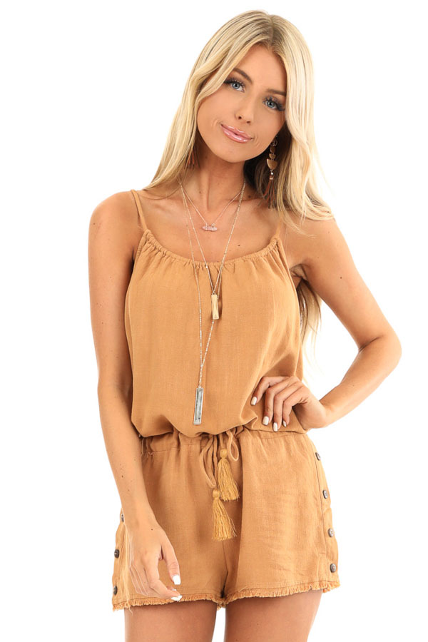 Honey Tank Top Romper with Waist Tie and Button Detail front close up