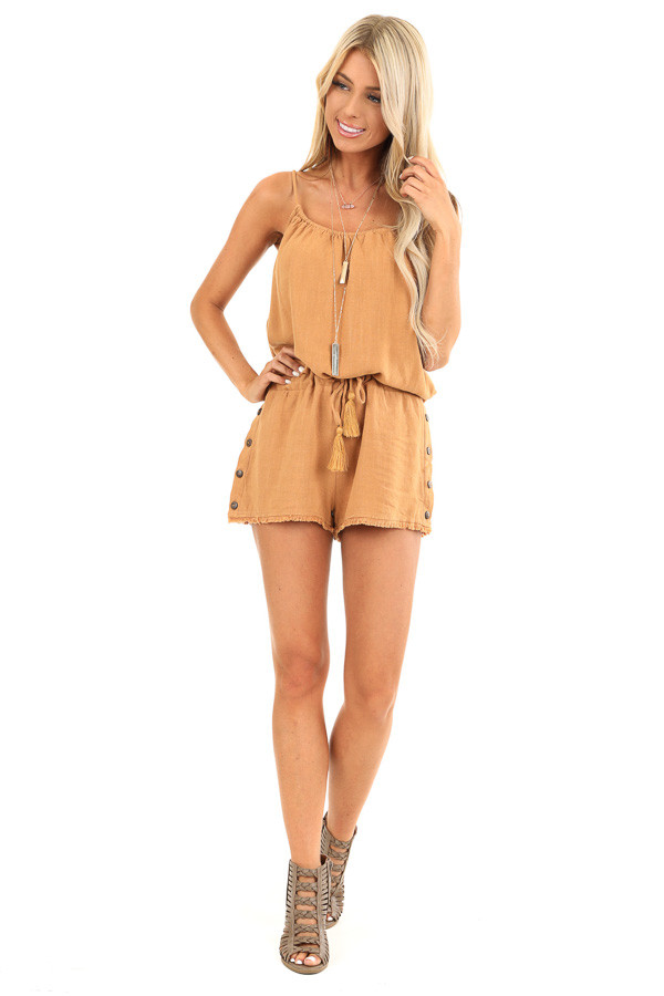 Honey Tank Top Romper with Waist Tie and Button Detail front full body