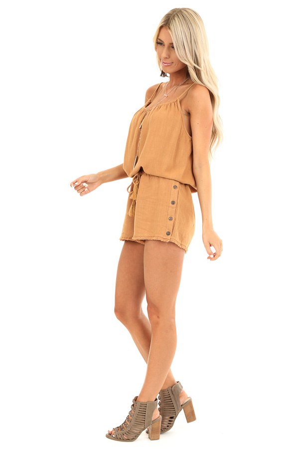 Honey Tank Top Romper with Waist Tie and Button Detail side full body