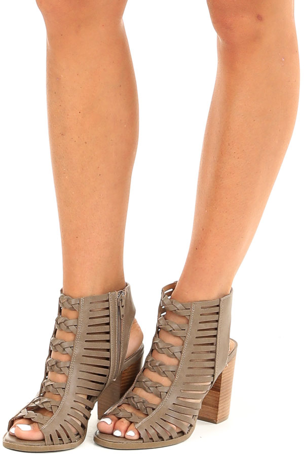 Taupe Open Toe Heels with Braided Details and Cutouts front side view
