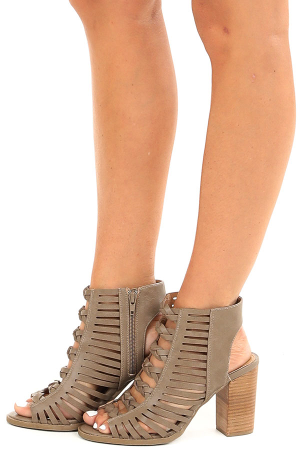 Taupe Open Toe Heels with Braided Details and Cutouts side view