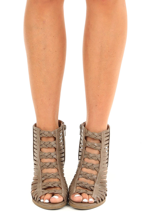 Taupe Open Toe Heels with Braided Details and Cutouts front view