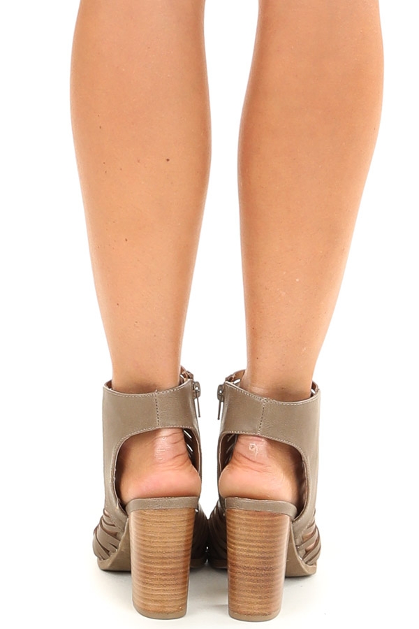Taupe Open Toe Heels with Braided Details and Cutouts back view