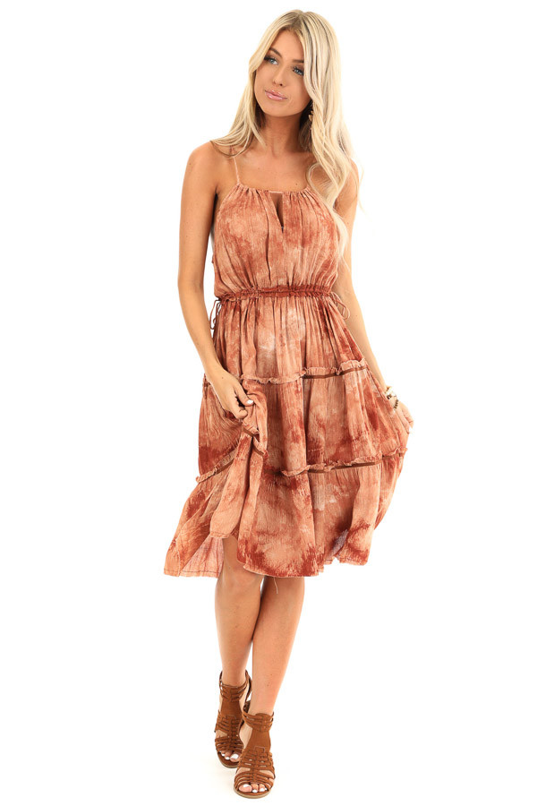 Washed Rust Spaghetti Strap Tiered Mini Dress front full body