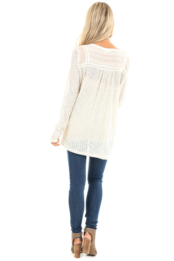 Cream Long Sleeve Knit Sweater Top with Sheer Chest back full body