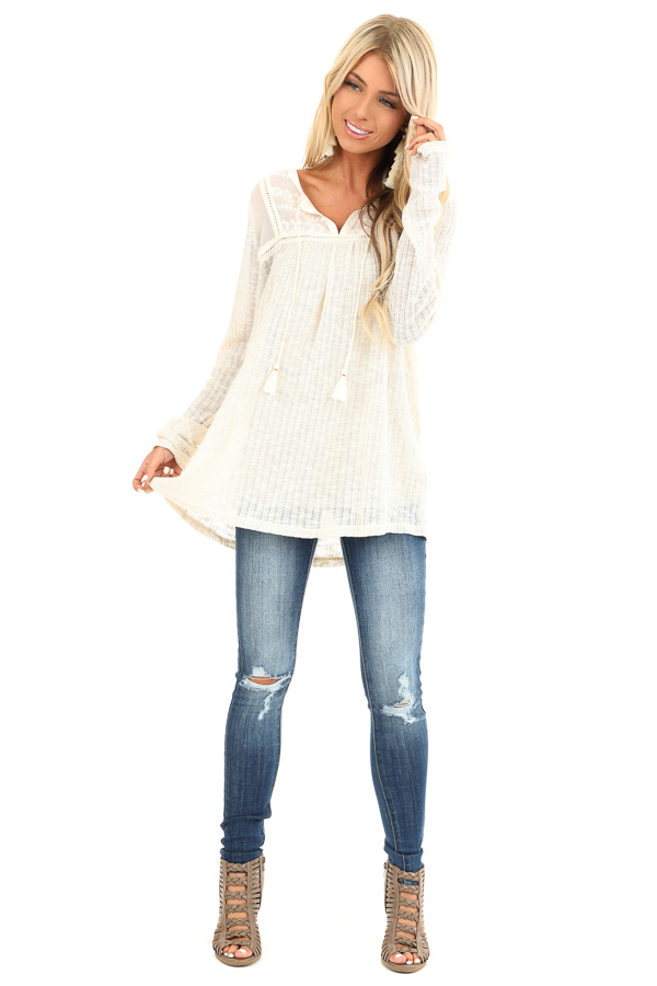 Cream Long Sleeve Knit Sweater Top with Sheer Chest front full body