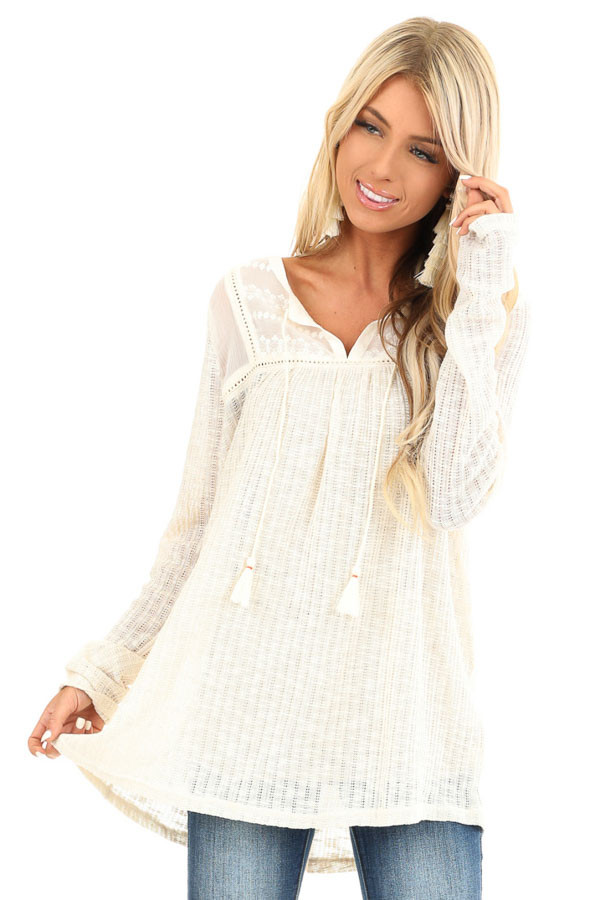 Cream Long Sleeve Knit Sweater Top with Sheer Chest front close up