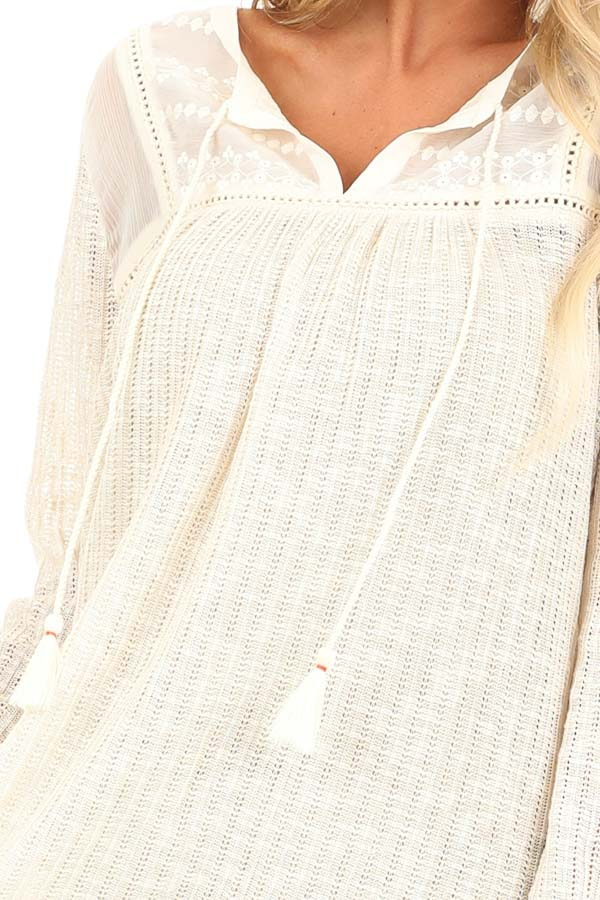 Cream Long Sleeve Knit Sweater Top with Sheer Chest detail