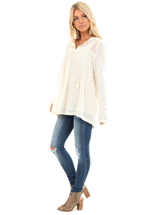 Cream Long Sleeve Knit Sweater Top with Sheer Chest side full body