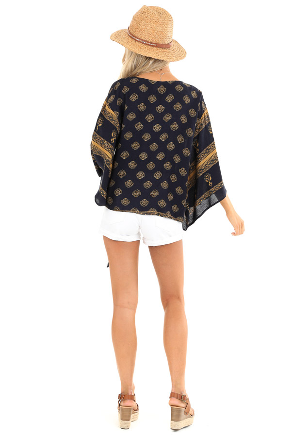 Navy and Mustard Multi Print V Neck Blouse with Front Tie back full body