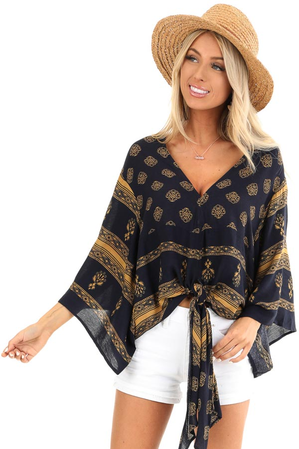 Navy and Mustard Multi Print V Neck Blouse with Front Tie front full body