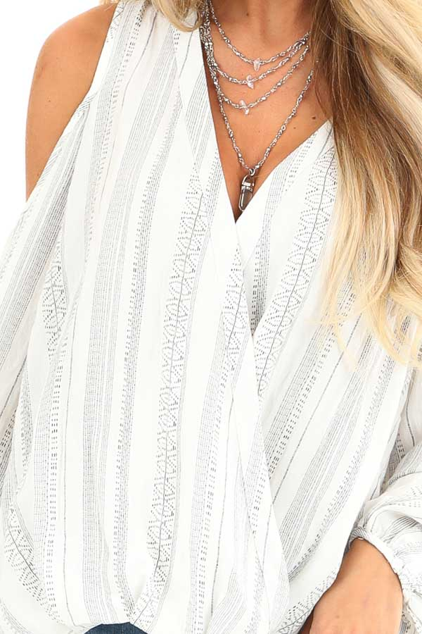 Pearl and Ink Striped Cold Shoulder Surplice Blouse detail
