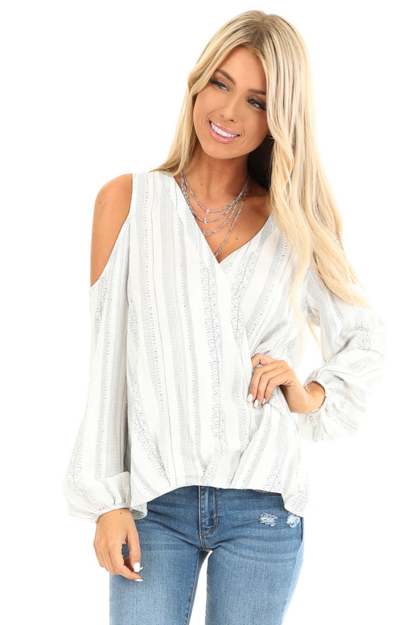 Pearl and Ink Striped Cold Shoulder Surplice Blouse front close up