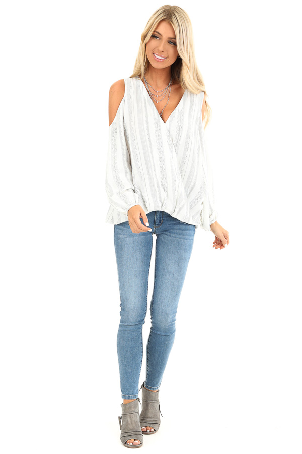 Pearl and Ink Striped Cold Shoulder Surplice Blouse front full body
