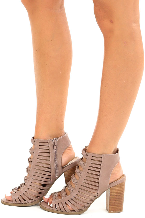 Mauve Open Toe Heels with Braided Details and Cutouts side view