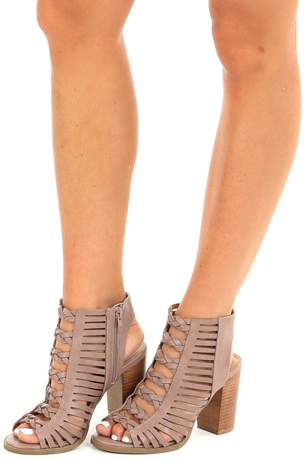 Mauve Open Toe Heels with Braided Details and Cutouts front side view