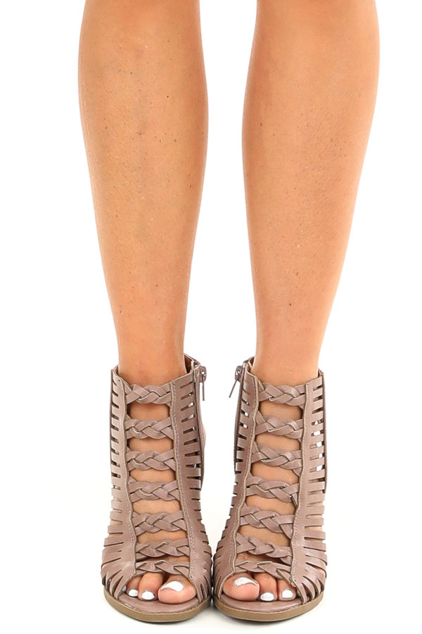 Mauve Open Toe Heels with Braided Details and Cutouts front view