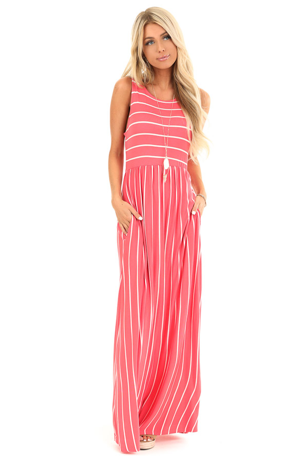 Coral and Ivory Striped Sleeveless Maxi Dress with Pockets front full body