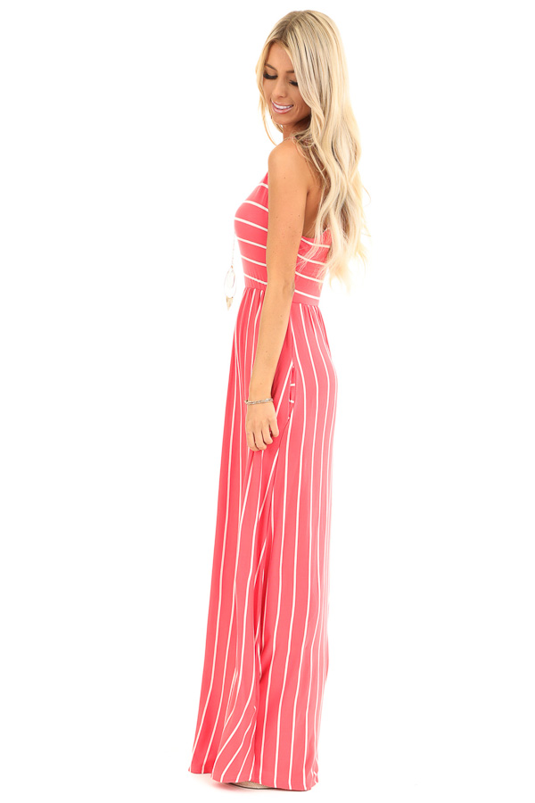 Coral and Ivory Striped Sleeveless Maxi Dress with Pockets side full body