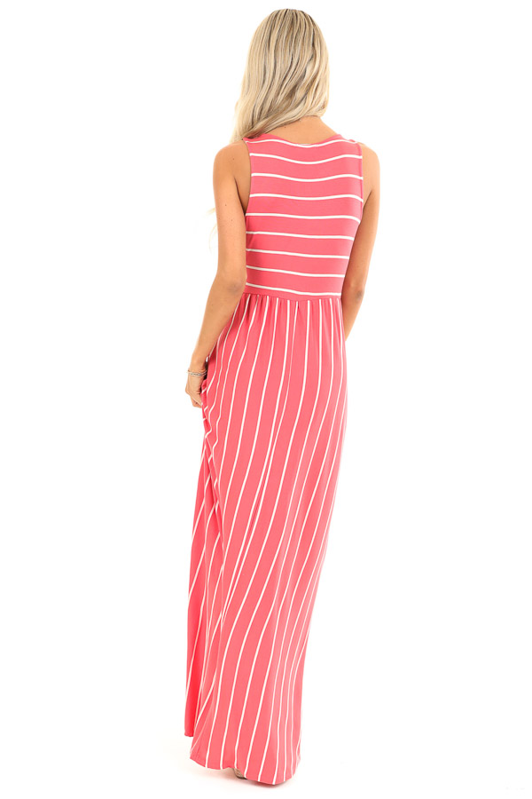 Coral and Ivory Striped Sleeveless Maxi Dress with Pockets back full body