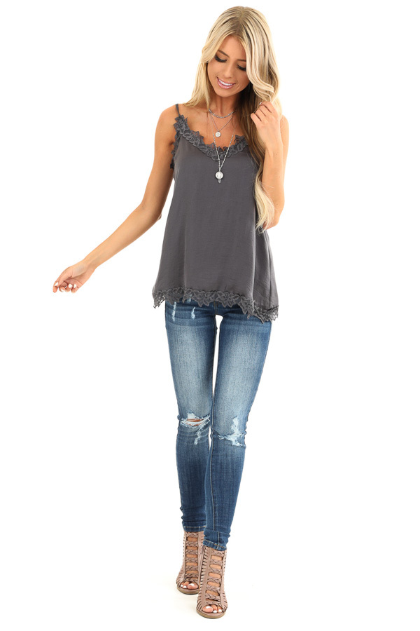 Charcoal Satin V Neck Tank Top with Lace Detail front full body