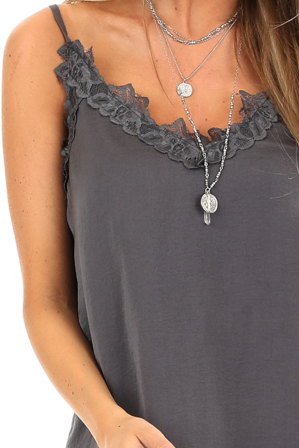 Charcoal Satin V Neck Tank Top with Lace Detail detail